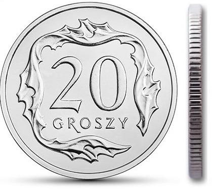 Монета 20 грошей 2007 монетного двора из мешочка