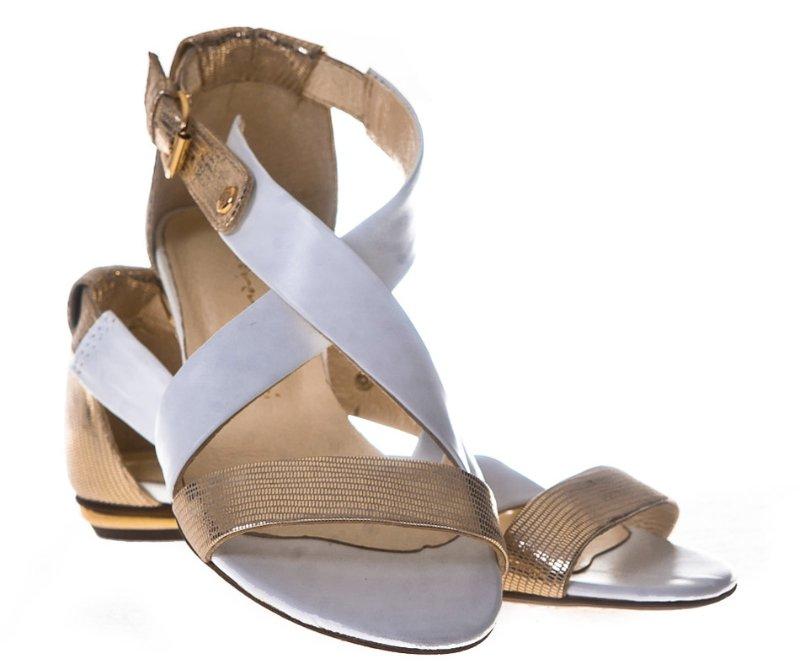 Sandały Skórzane Biało/ Złote S700 LaFEMME r- 36