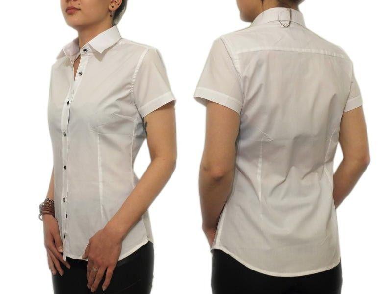 Elegancka biała koszula damska Slim krótki 42/XL