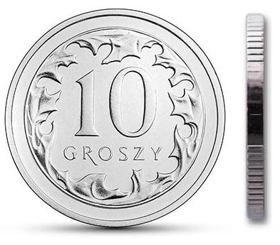 Монета мятный рулет 10 грошей 1999 года