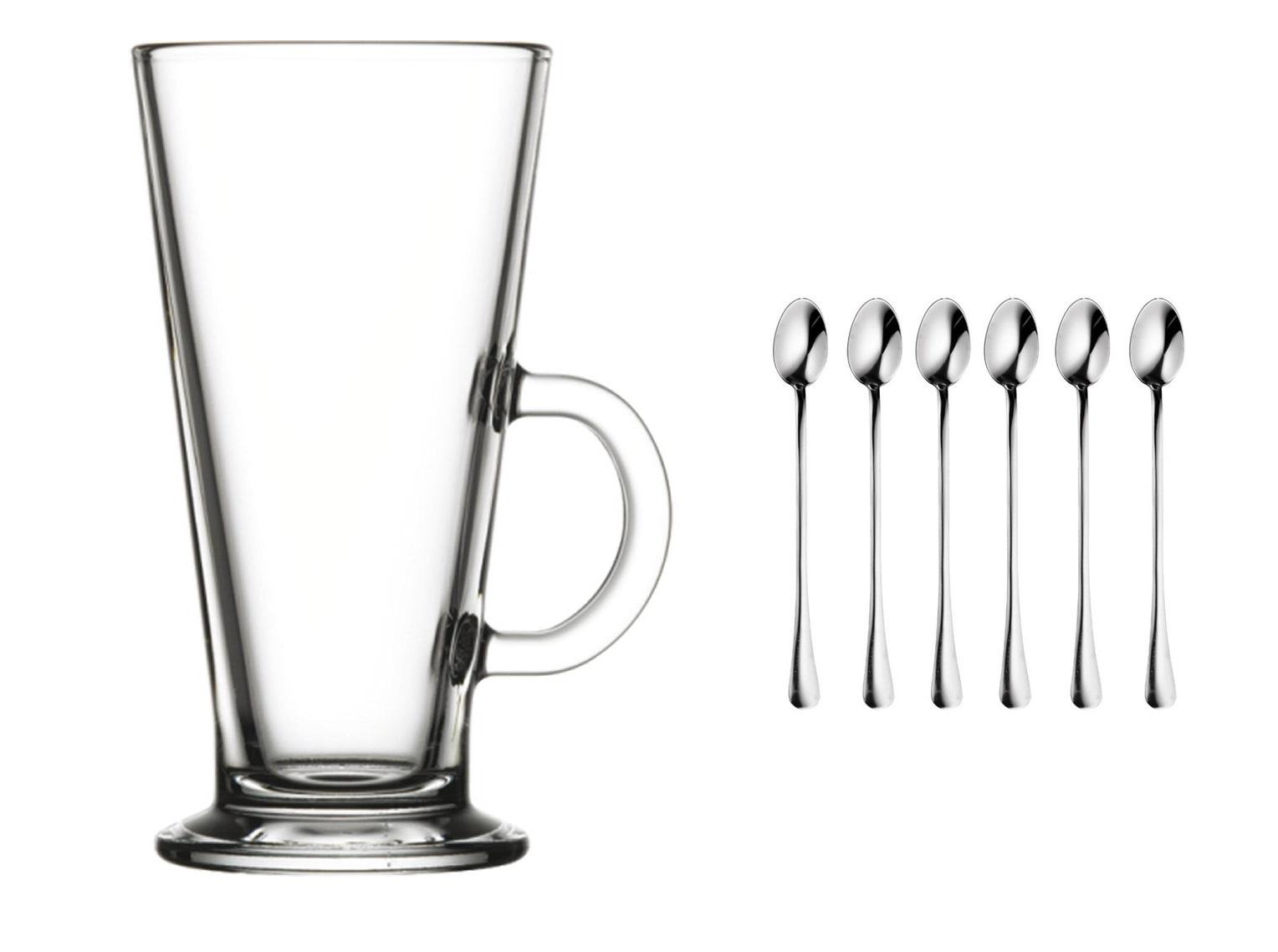 Latte Coffee okuliare 6 položiek 455 ml + lyžičky!