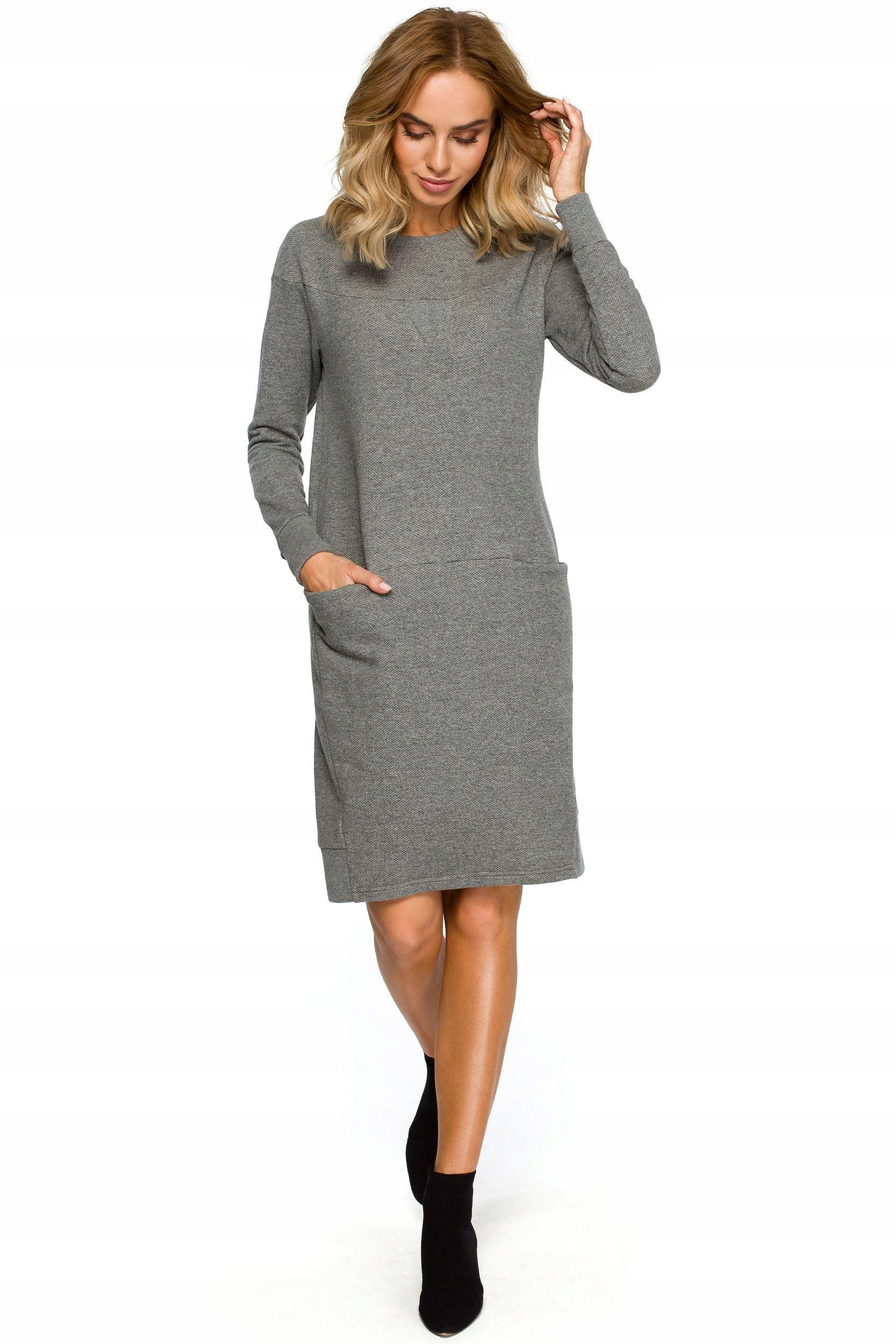 1be5ed086c M404 Dzianinowa sukienka z karczkiem - szara 38
