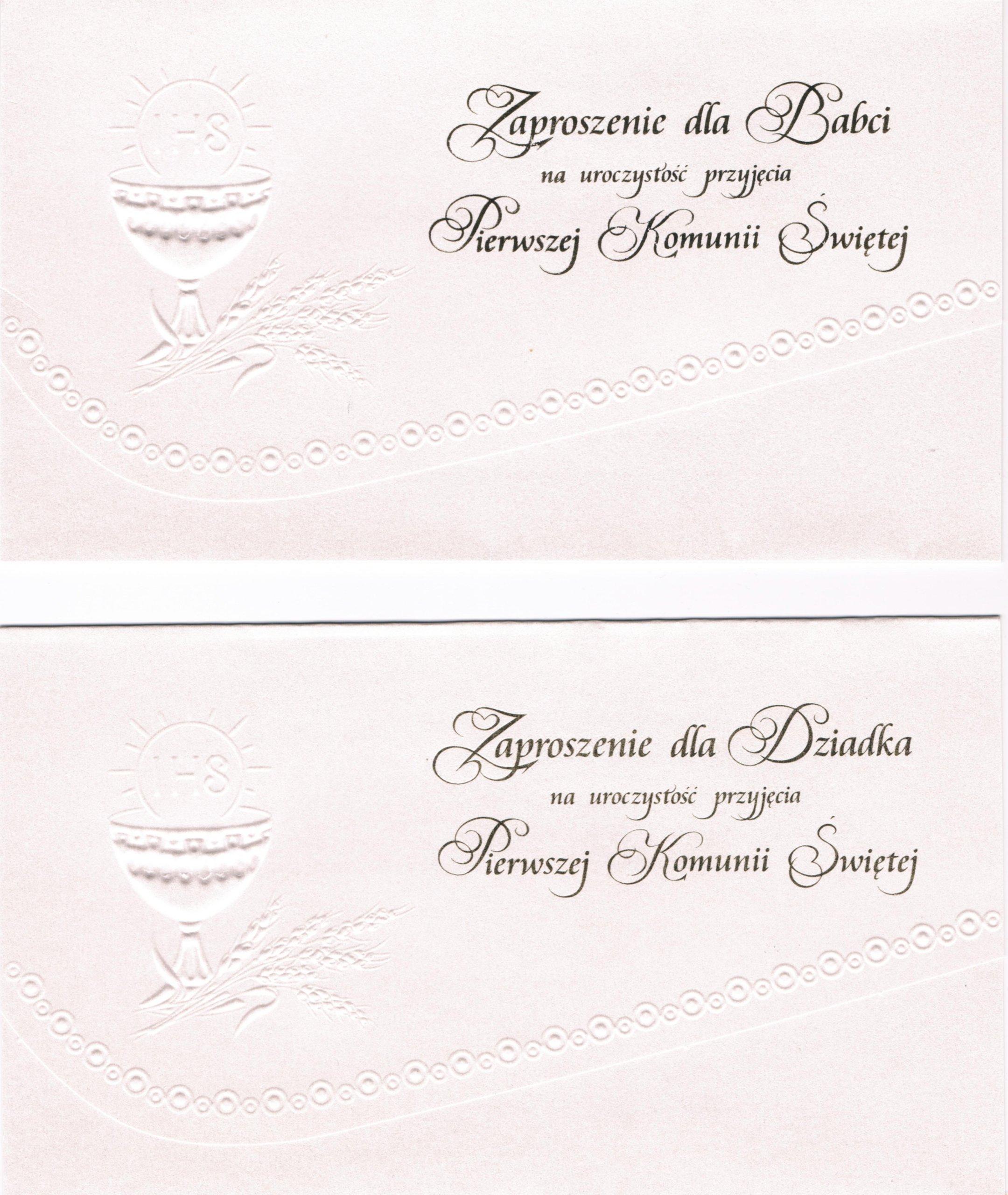 Zaproszenia Komunijne Dla Dziadków Wys 24h 6726260312 Allegropl