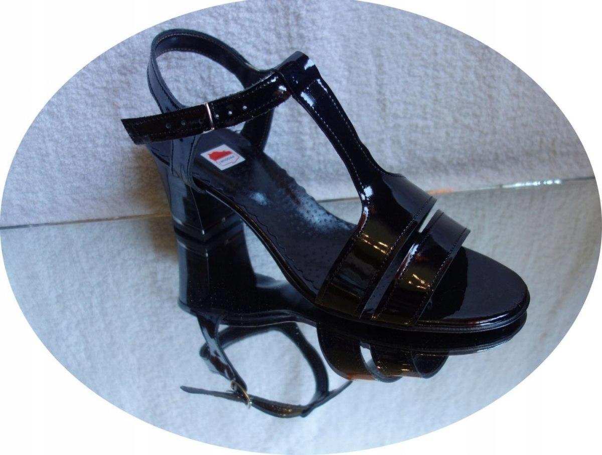 sandały obcas Skóra czarny lakier teg 2x H 42