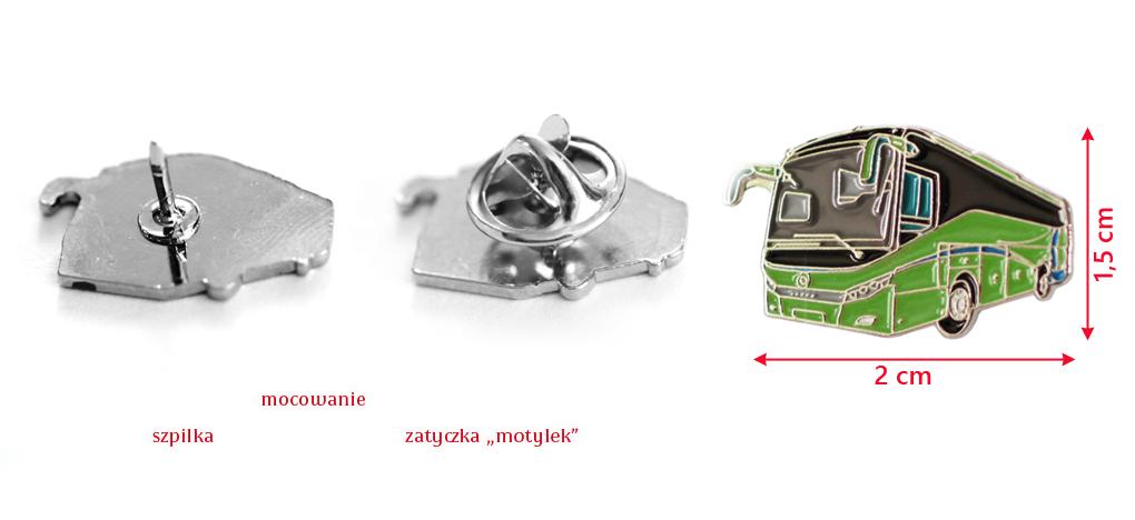 Zielony AUTOBUS dla KIEROWCY Pin Przypinka Pins Waga produktu z opakowaniem jednostkowym 0.2 kg