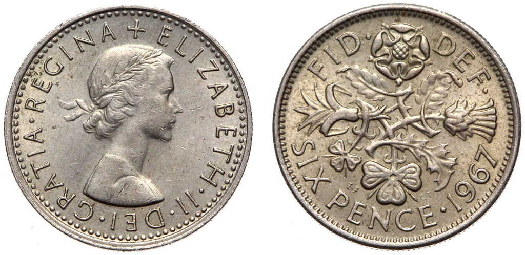 Moneta 6 Pence 1953-1967 - Ankle Brian May Queen