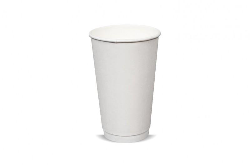 Biele papierové poháre 400ml Dvojitá stena 20ks