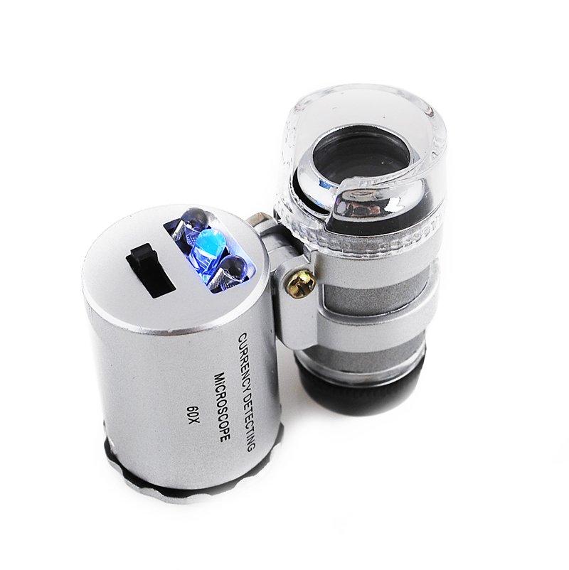 Mikroskop s bielym a UV svetlom zväčšením 60x
