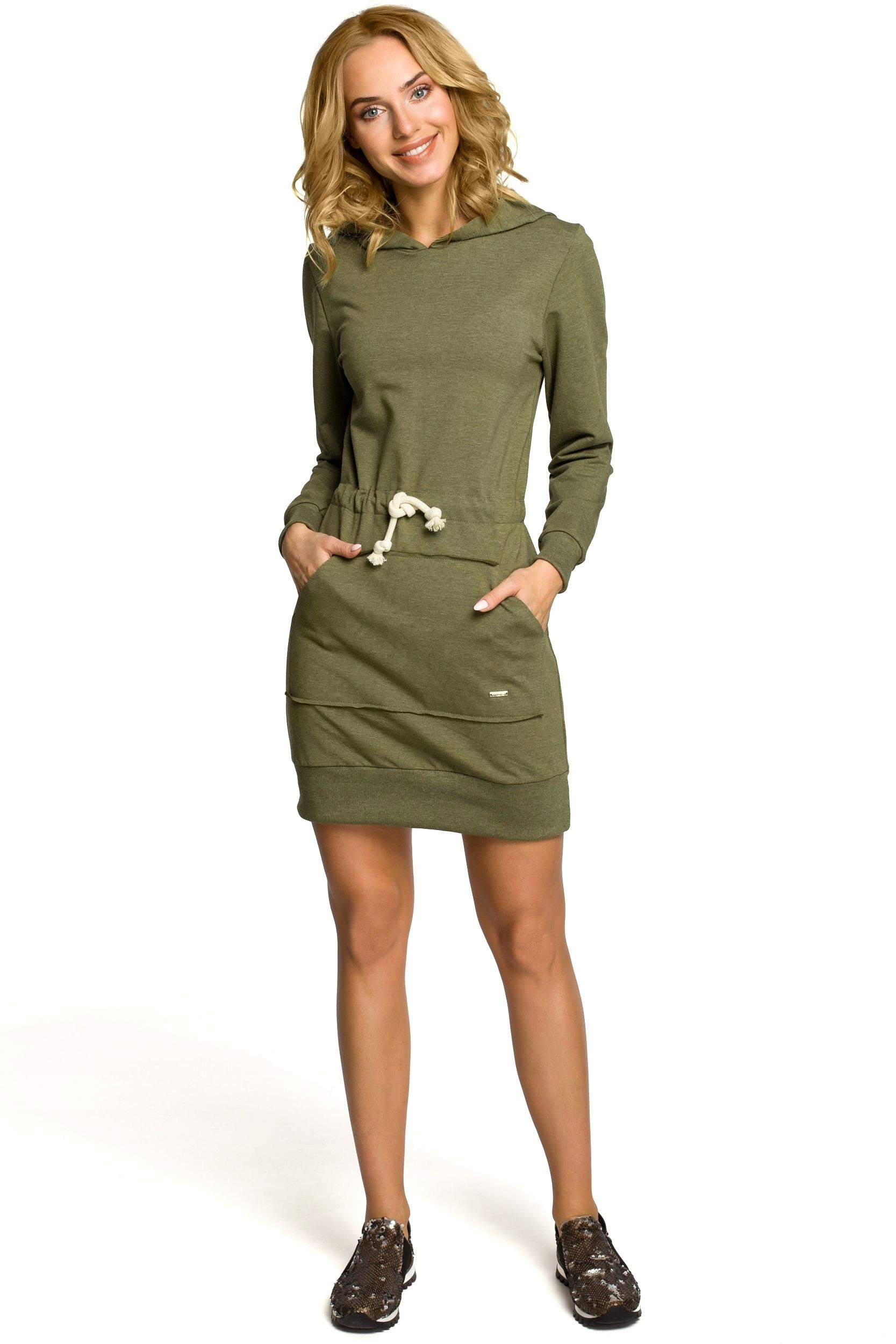 f481f298a9 M116 Mini sportowa sukienka z kapturem - khaki 40 7693249634 - Allegro.pl