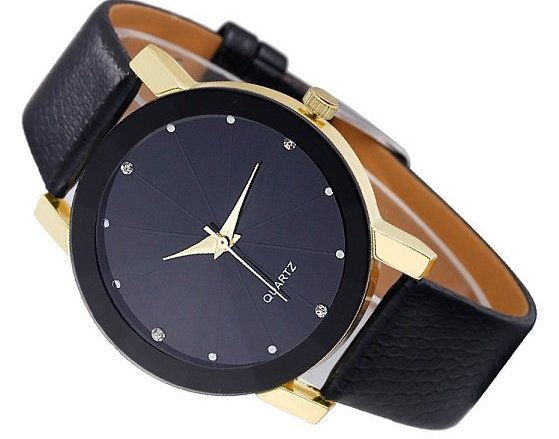 Item Ladies Watch, Elegant Golden Black Rhinestones