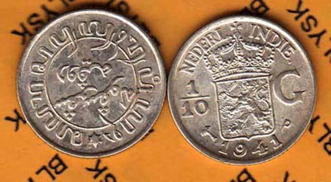 INDONE.INDI-HOLEN /KM-318/ 1/10 GULDENA 1941 P AG