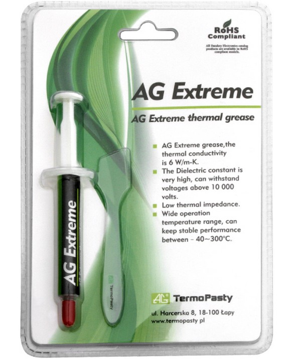 Паста теплообмена AG Extreme 6W/mk 3g + pack