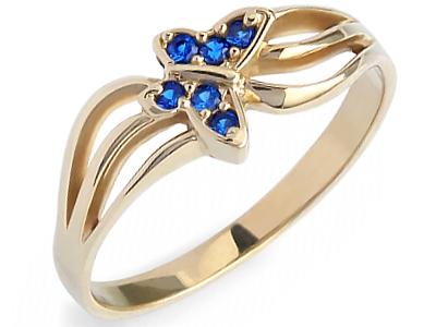 ZŁOTY 585 pierścionek MOTYL z SZAFIR zaręczynowy