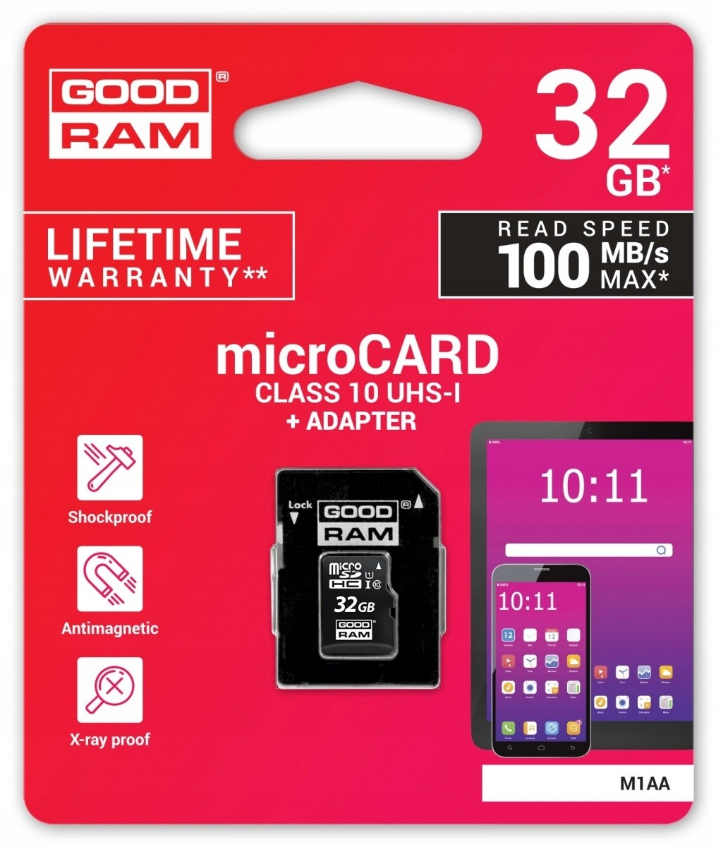 Карта памяти micro SD Goodram 32GB class 10 adapt
