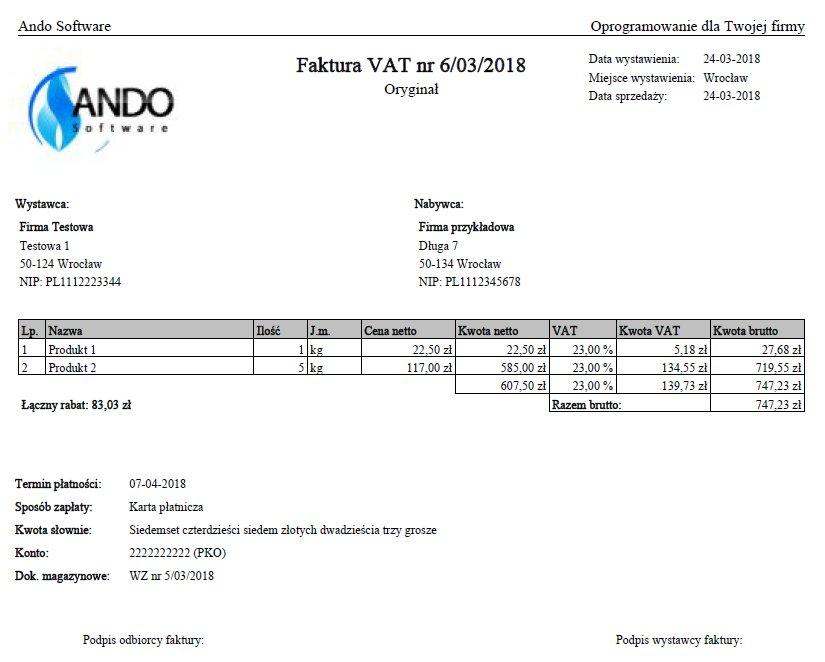 FV-Ando - program do fakturowania, faktur VAT -ESD Rodzaj OEM