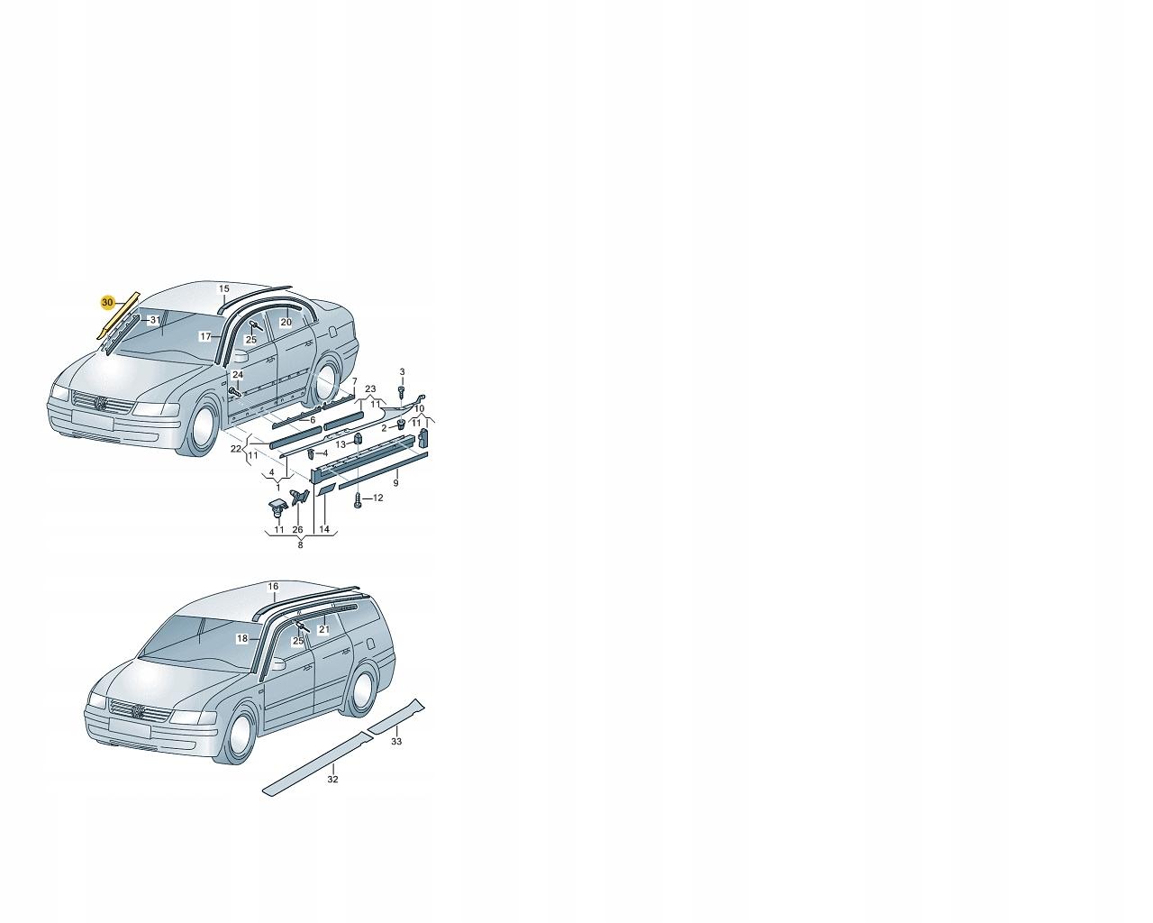 [КОМПЛЕКТ ПРОКЛАДКИ СТЕКЛО ПЕРЕД VW PASSAT B5 SUPERB из Польши]изображение 2