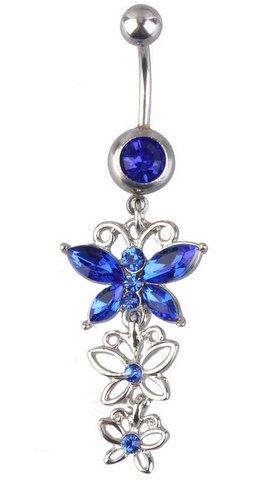 Item Earrings for belly button BUTTERFLY BLUE 316L 1,6/10 mm