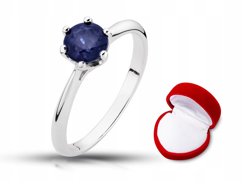 Złoty pierścionek zaręczynowy z szafirem 1 0ct 24h