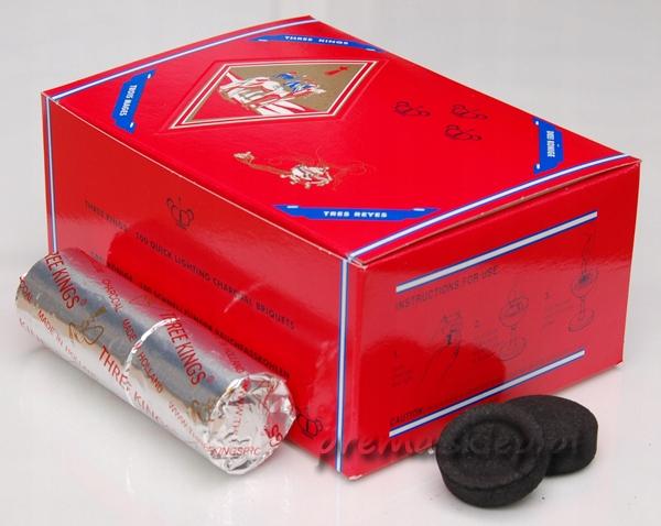 Shisha Węgle Węgielki BOX 100szt THREE KINGS 40mm