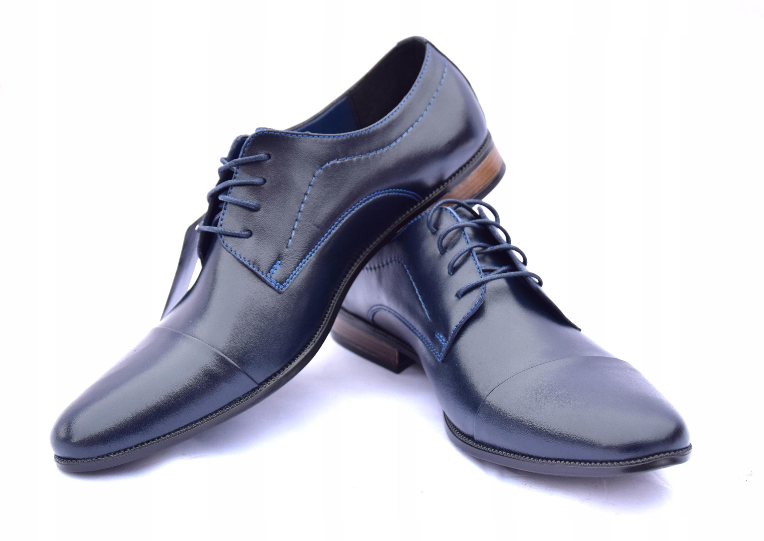 Granatowe wizytówki polskie buty skórzane