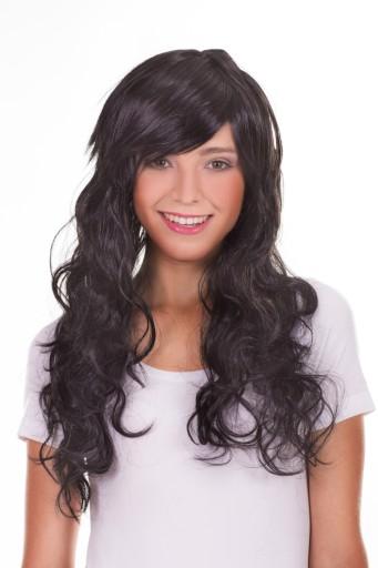 Длинные вьющиеся волосы в париках ЧЕРНЫЕ