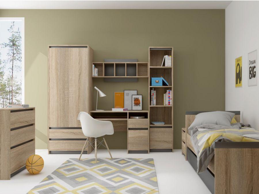 Meblościanka, zestaw młodzieżowy M1 +komoda +łóżko