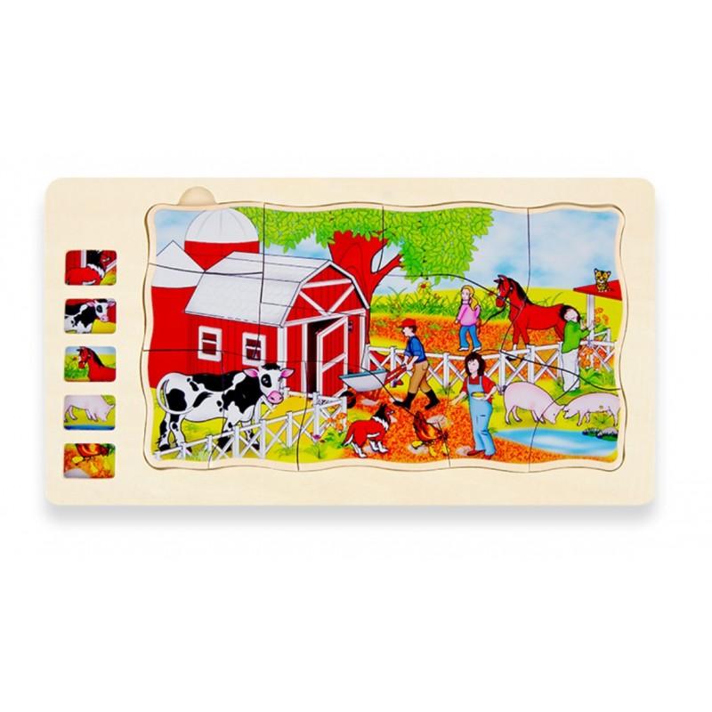 Drevené veľké puzzle vrstvené puzzle Farm394