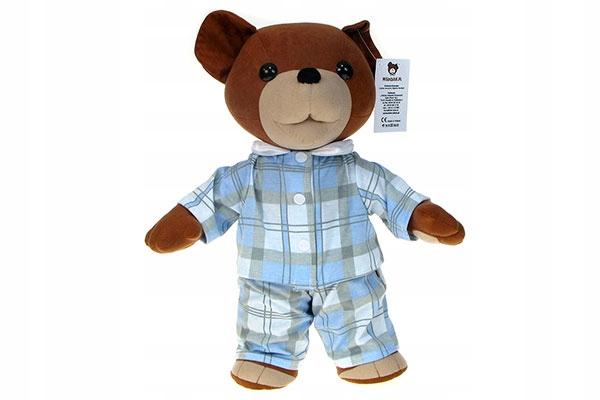 mäkké pyžamové BEAR USZATEK 43cm pyžamá s kontrolným vzorom