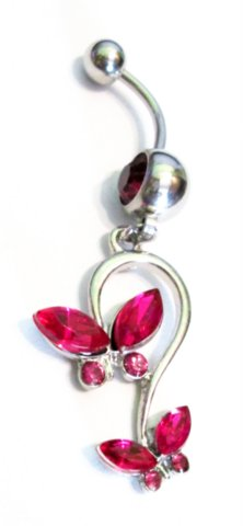Item Earring in the NAVEL BUTTERFLY FUCHSIA PINK 316L 1,6/10 mm