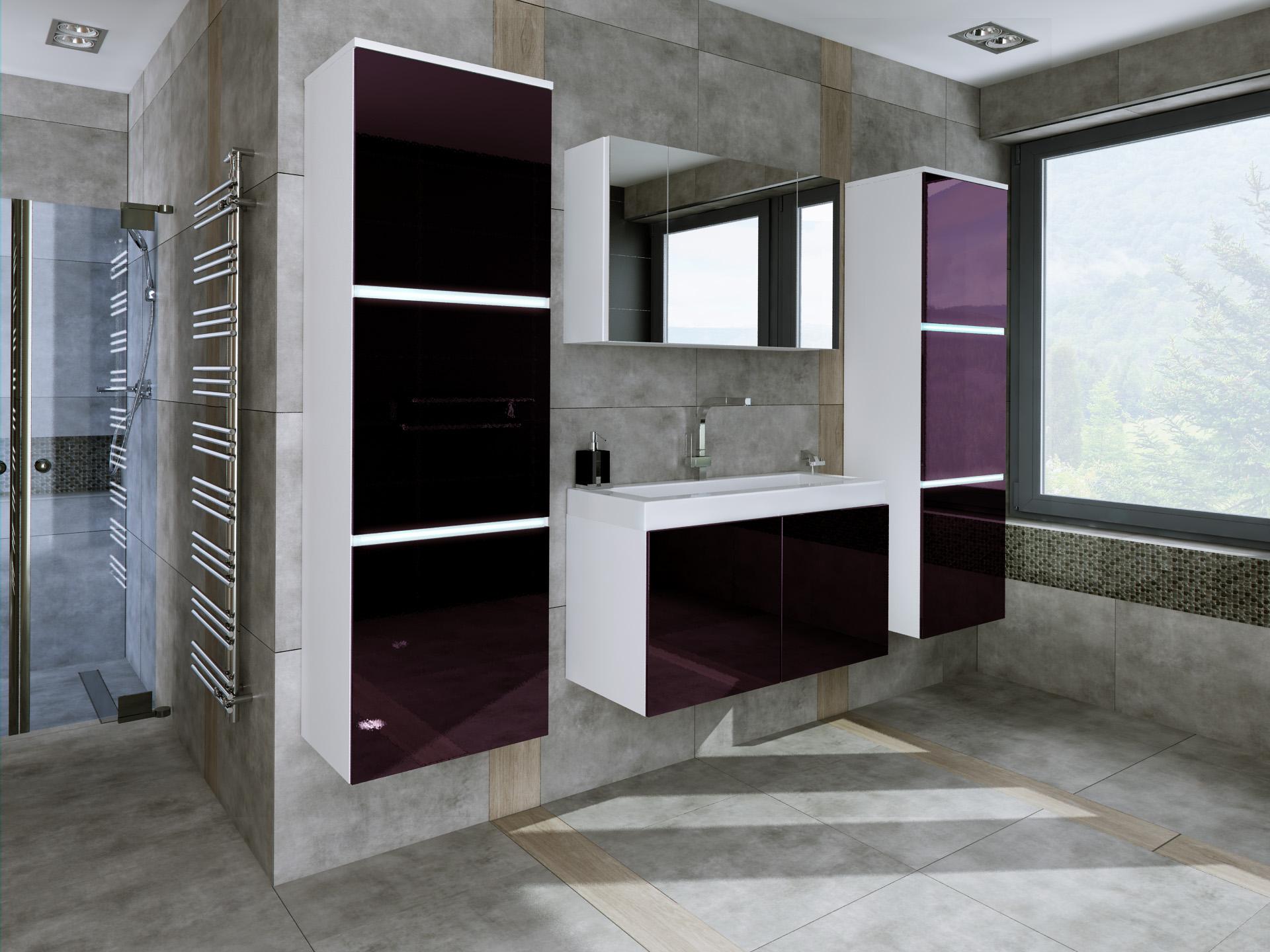 łazienka Fiolet Połysk Nowoczesna Umywalka