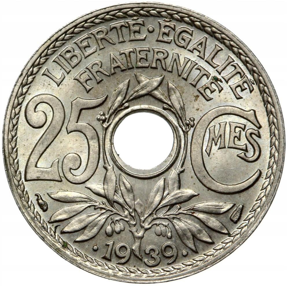 Francúzsko - mince - 25 centov 1939 - Mennicza UNC