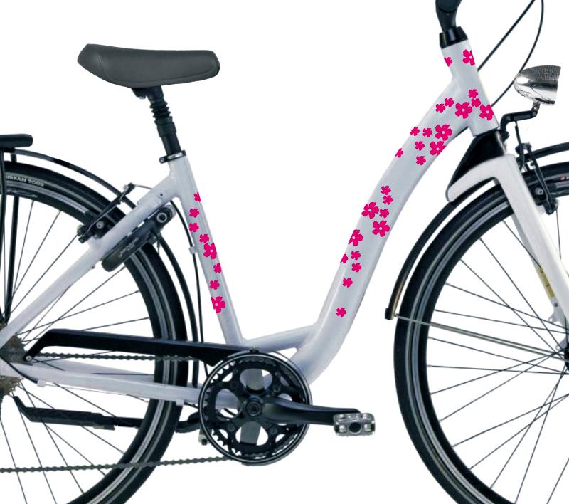 90szt MIX KWIATKI RÓŻOWE duże małe Naklejki rower