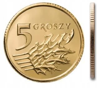 Чеканка 5 грошей 2005 года из сумки