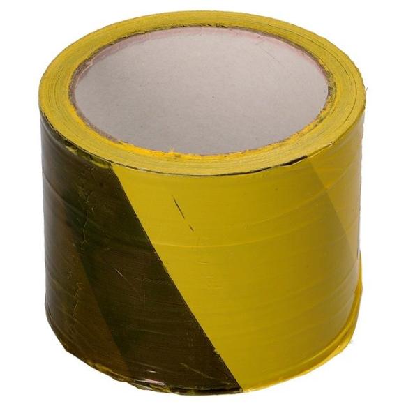 желто-черная предупреждающая лента 80мм 100м