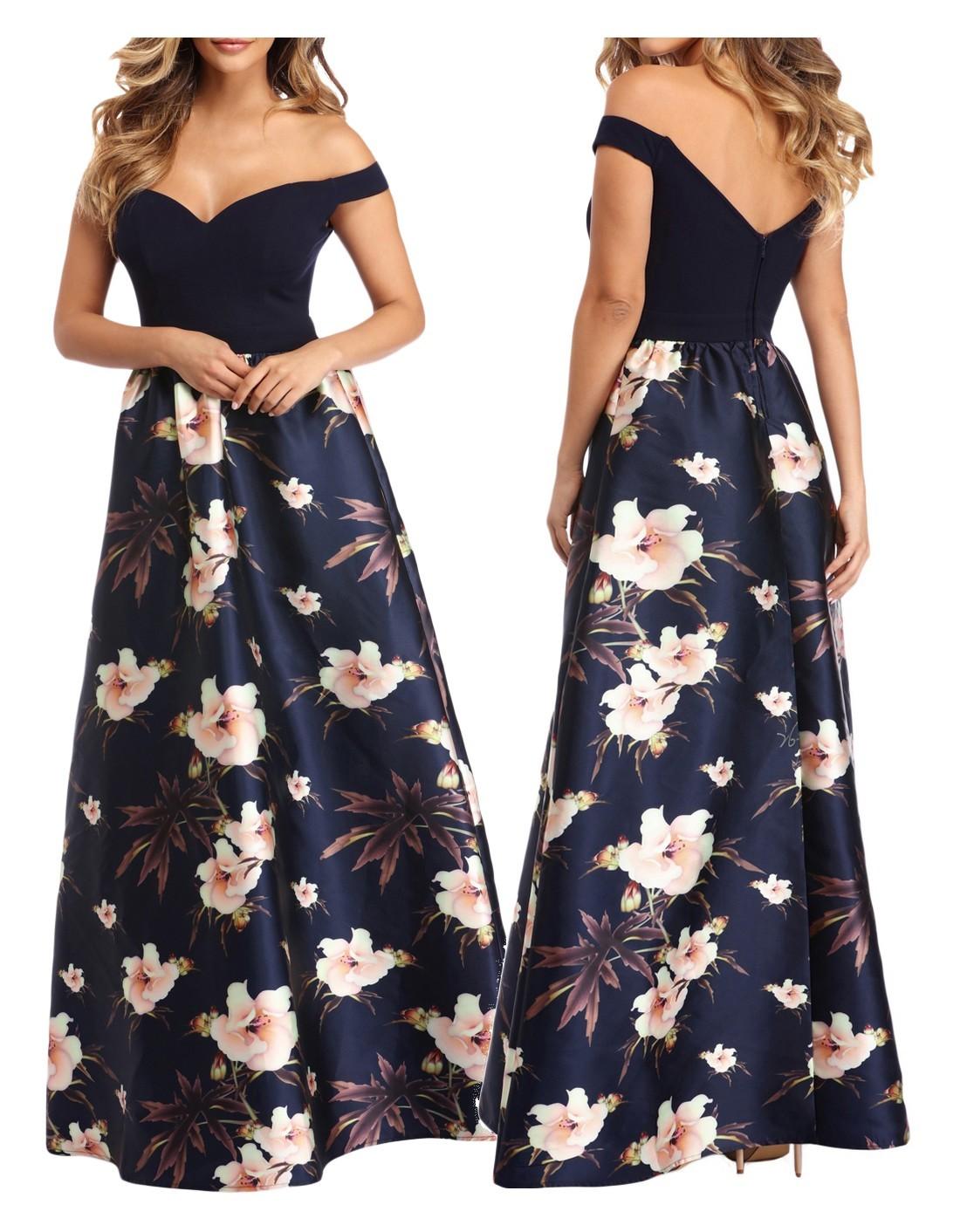 76fe1c7431 Długa suknia koktajlowa w kwiaty granatowa S 36 7430773786 - Allegro.pl