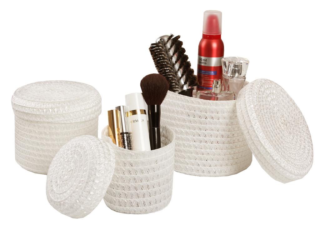 Baskets 3ks slama Set pre kozmetiku Biela