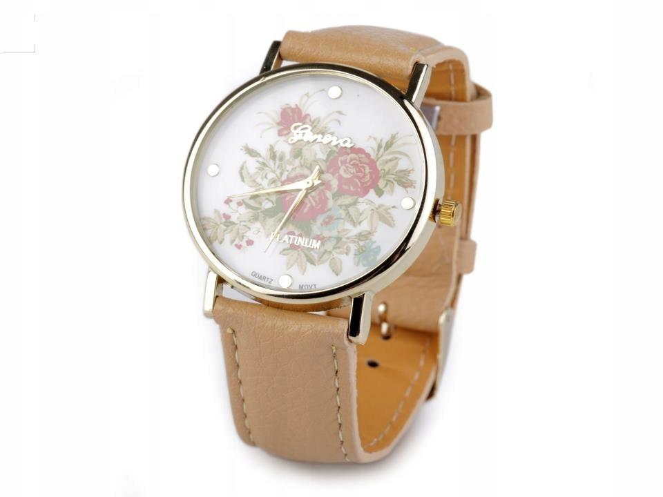 Zegarek damski 3,8x24 cm z kwiatami