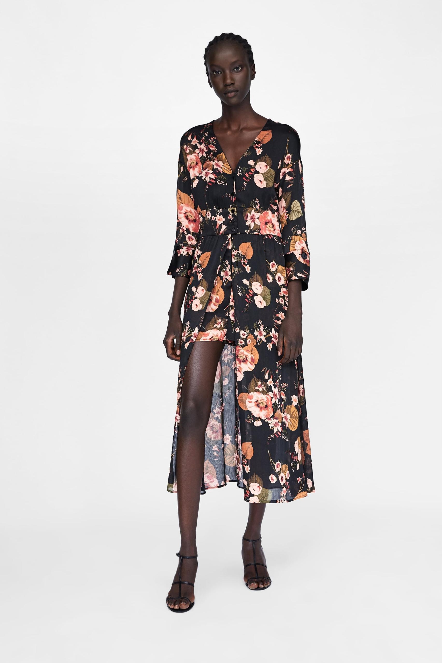 240d560d03 ZARA sukienka kombinezon z nadrukiem w kwiaty S 36 - 7777587620 ...