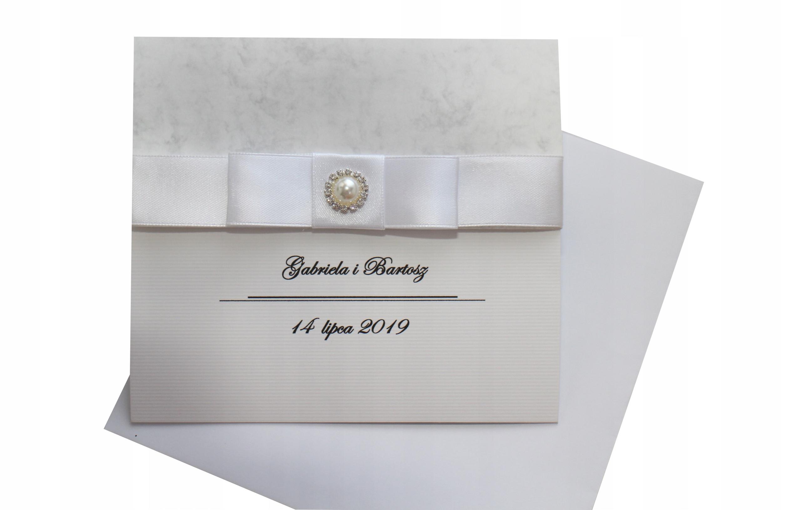 Zaproszenia ślubne Marmurowe Z Biżuterią I Kopertą 7548856360