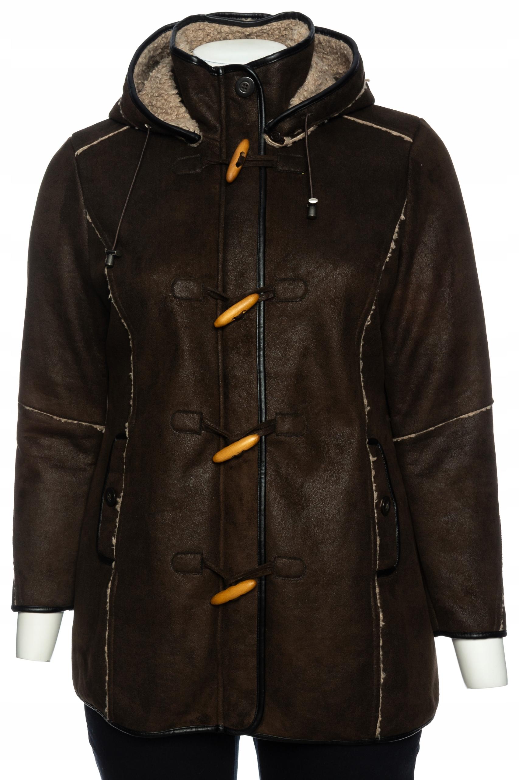 12 C&A brązowy kożuszek z kapturem r.46