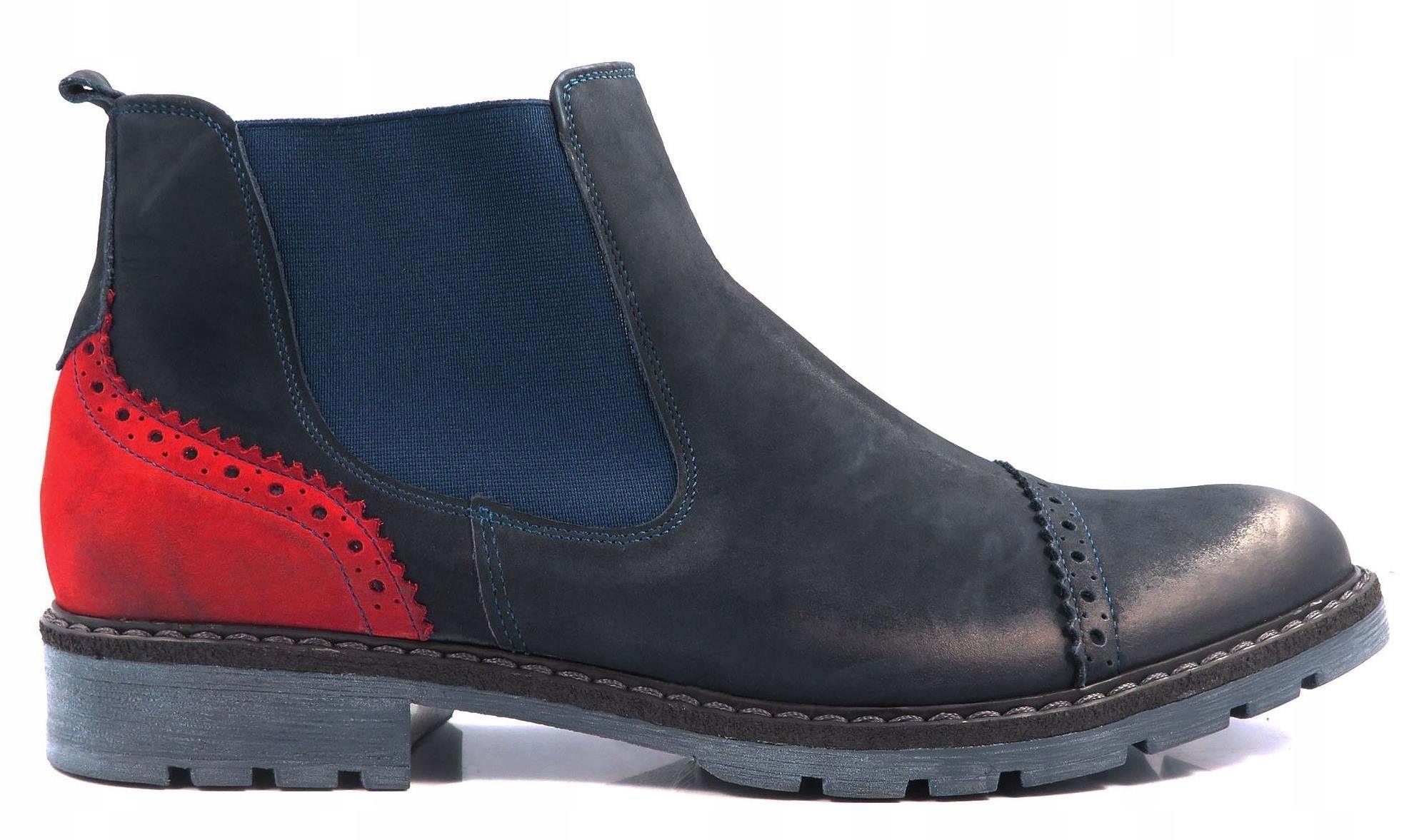 c3bf2d5ded1832 Granatowo-czerwone buty zimowe T63 Sztyblety r. 43 - 7084076550 ...