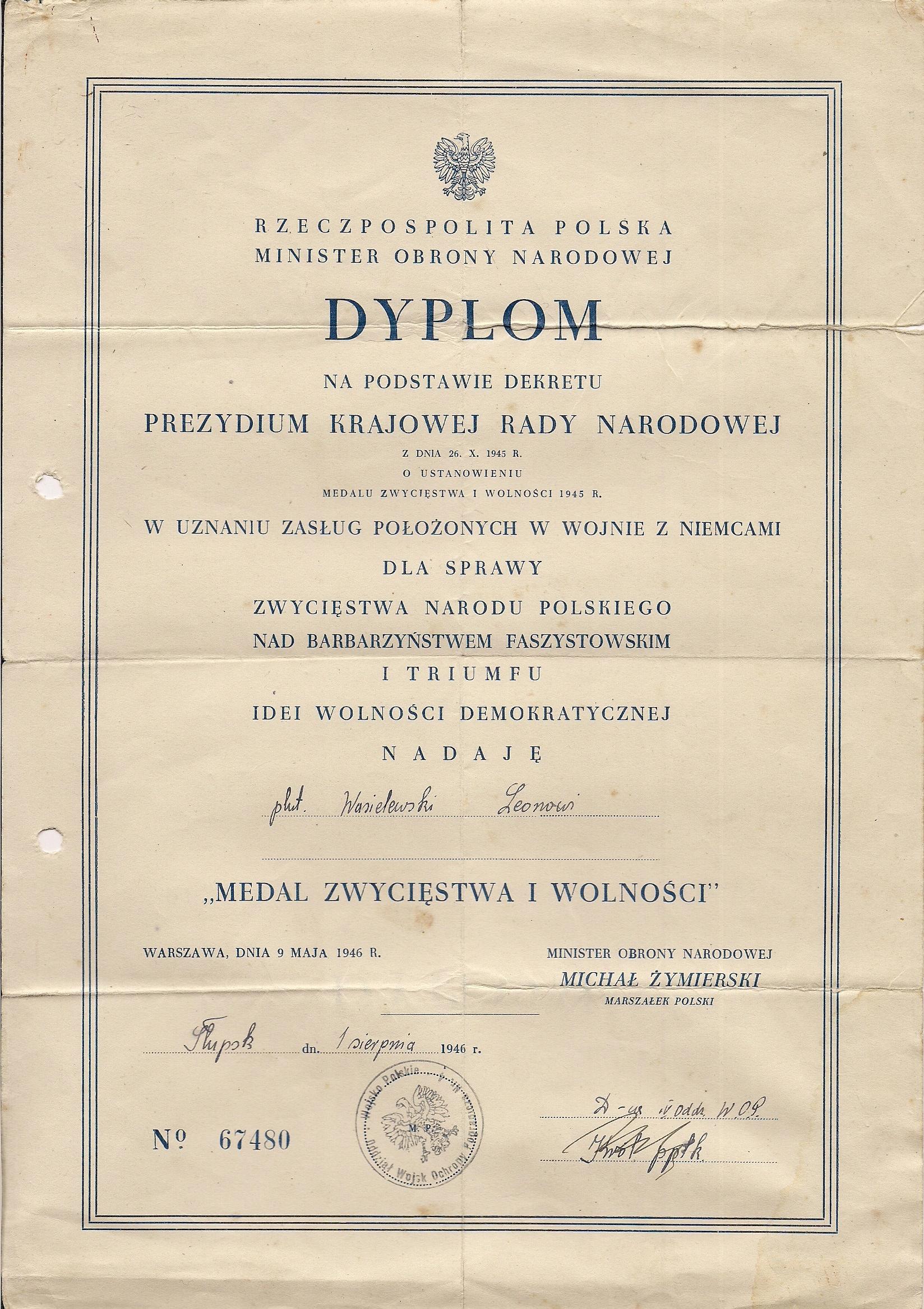 Dyplom do med. zwyc. i woln. z 1946r z piecz. WOP