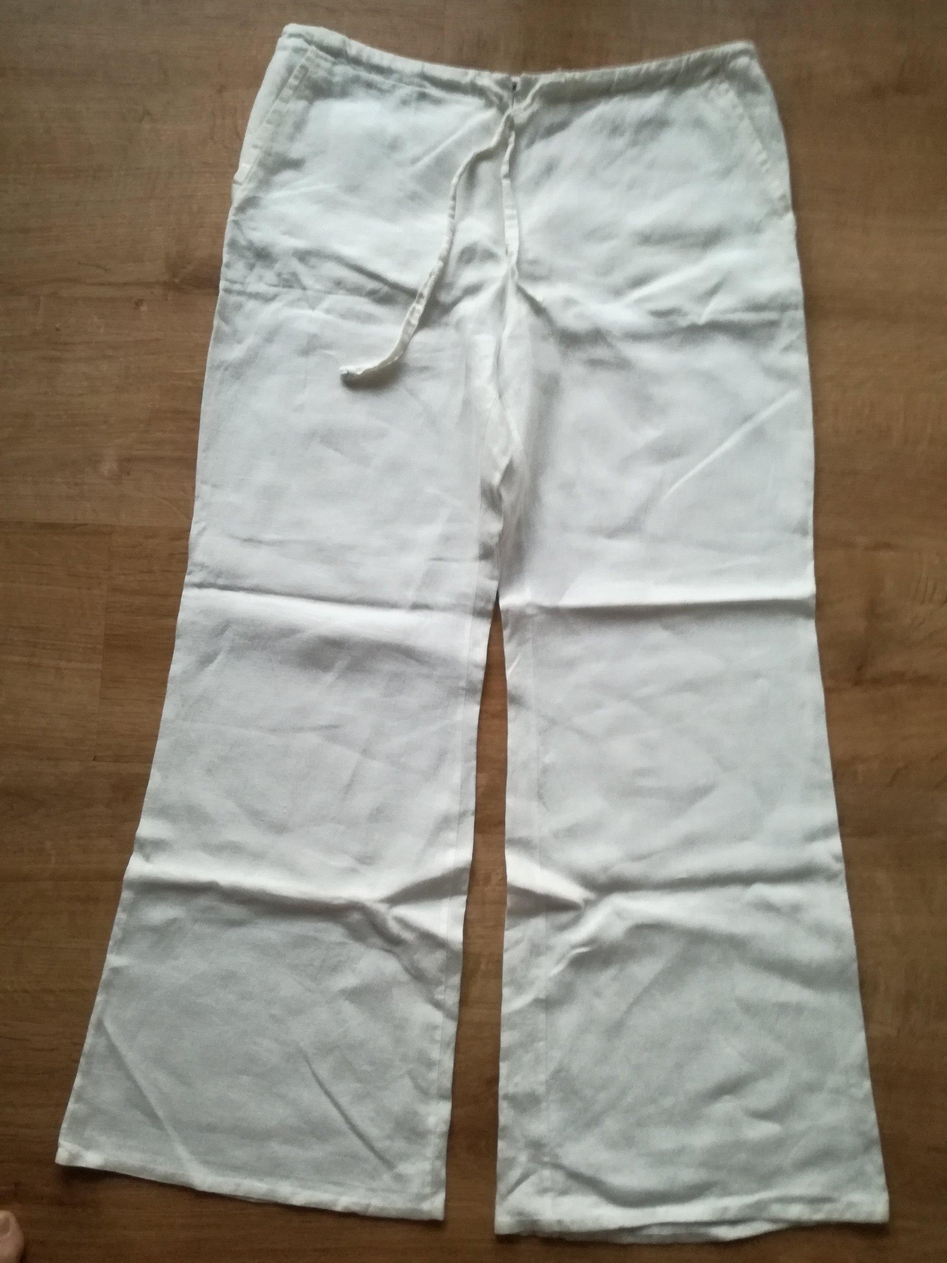 daeb9dd29d FAMA BIAŁE spodnie LNIANE len lato roz. 40 KRAKÓW - 7307181009 ...
