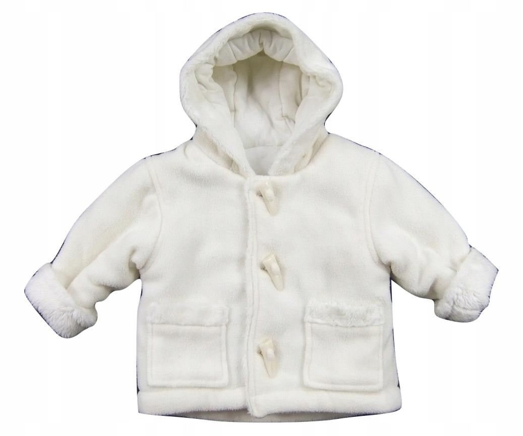 Polarowa kurtka z kapturem_ecru _62cm