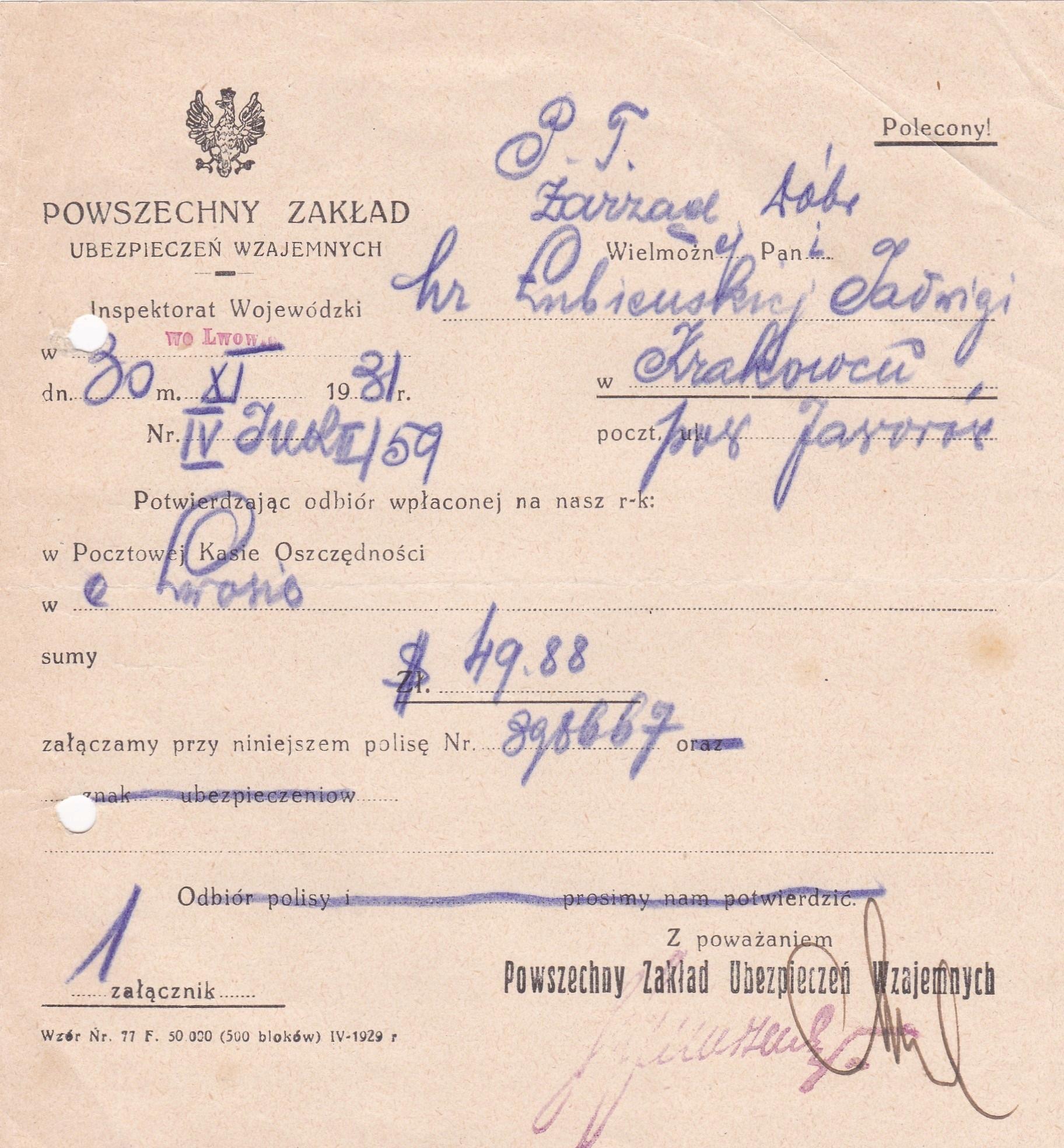 Dokument PZU Wzajemnych -1931 r.