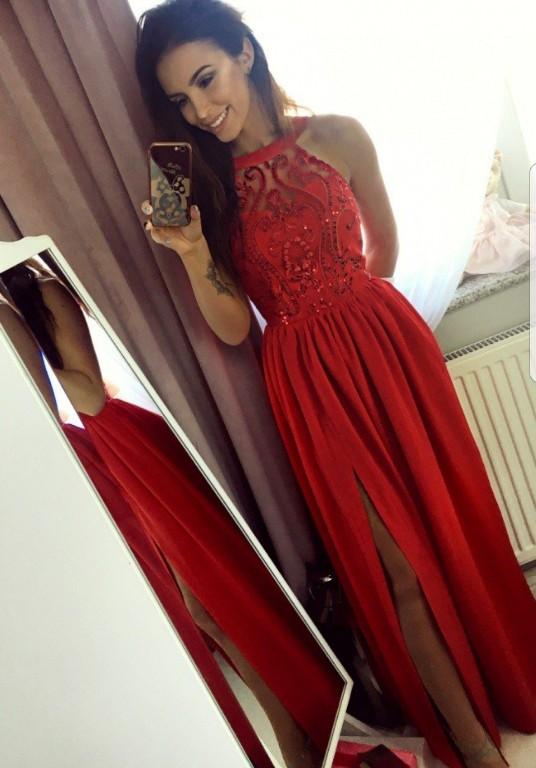 bb2a46ae ILLUMINATE długa czerwona sukienka Sylwester - 7083147005 ...