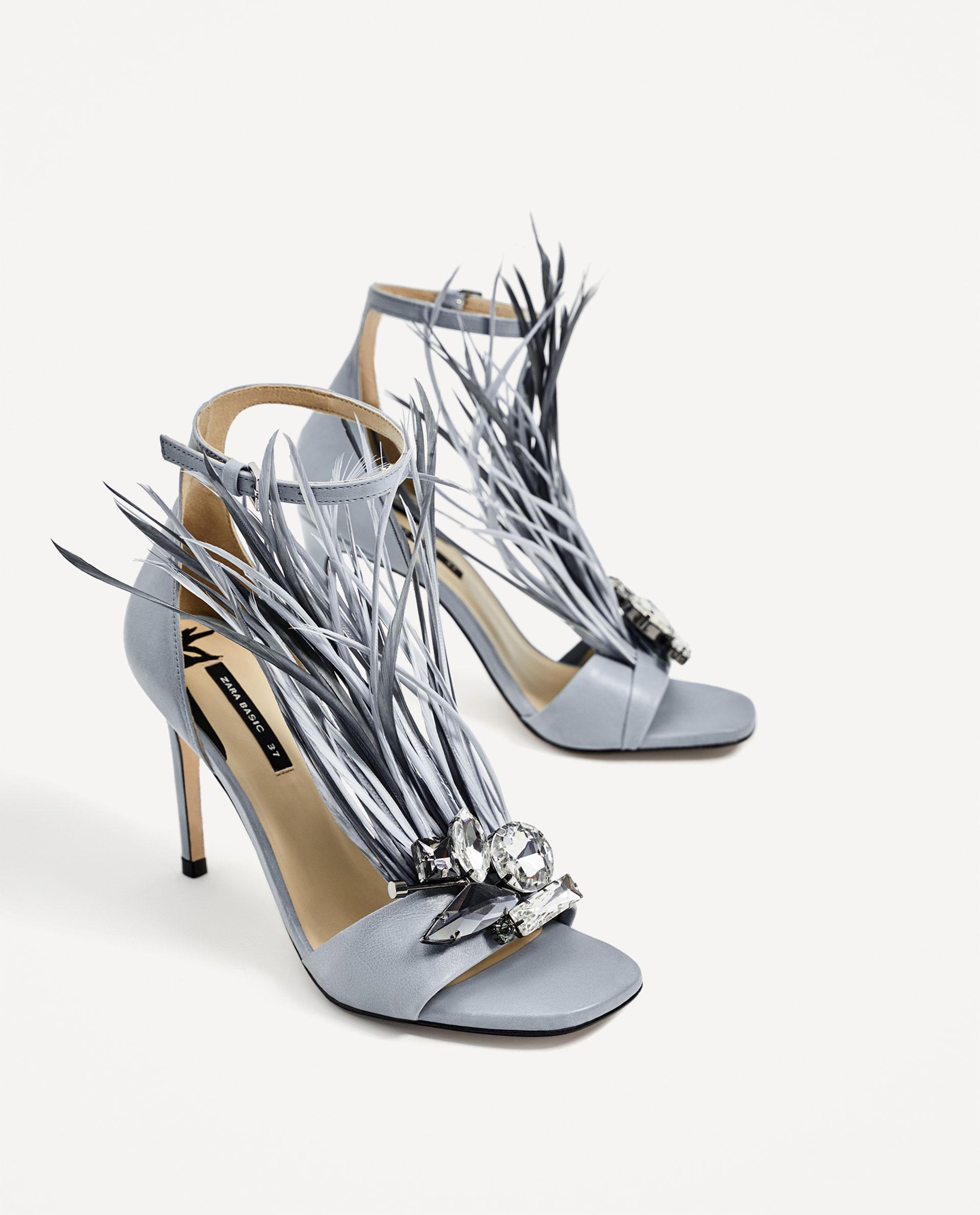 67ec2dcca14e40 Zara nowe szpilki skórzane sandały z piórami blue - 7192445385 ...