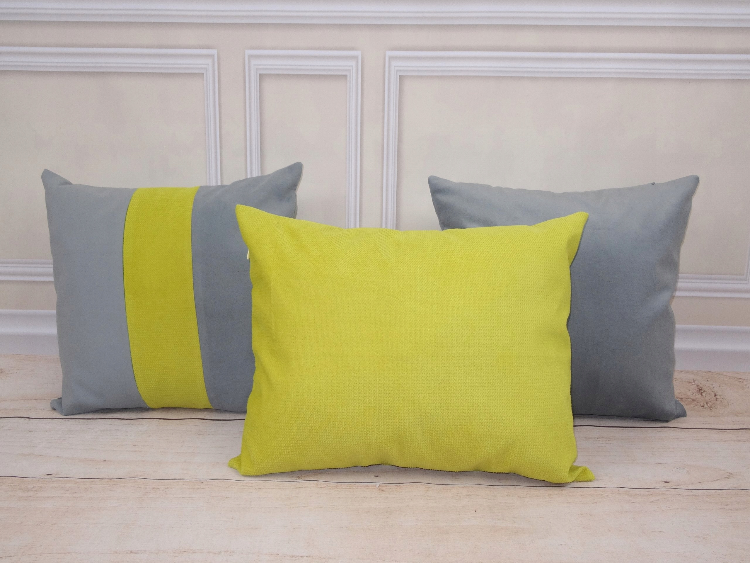 3 Poduszki Dekoracyjne żółto Szare 7316938530 Oficjalne