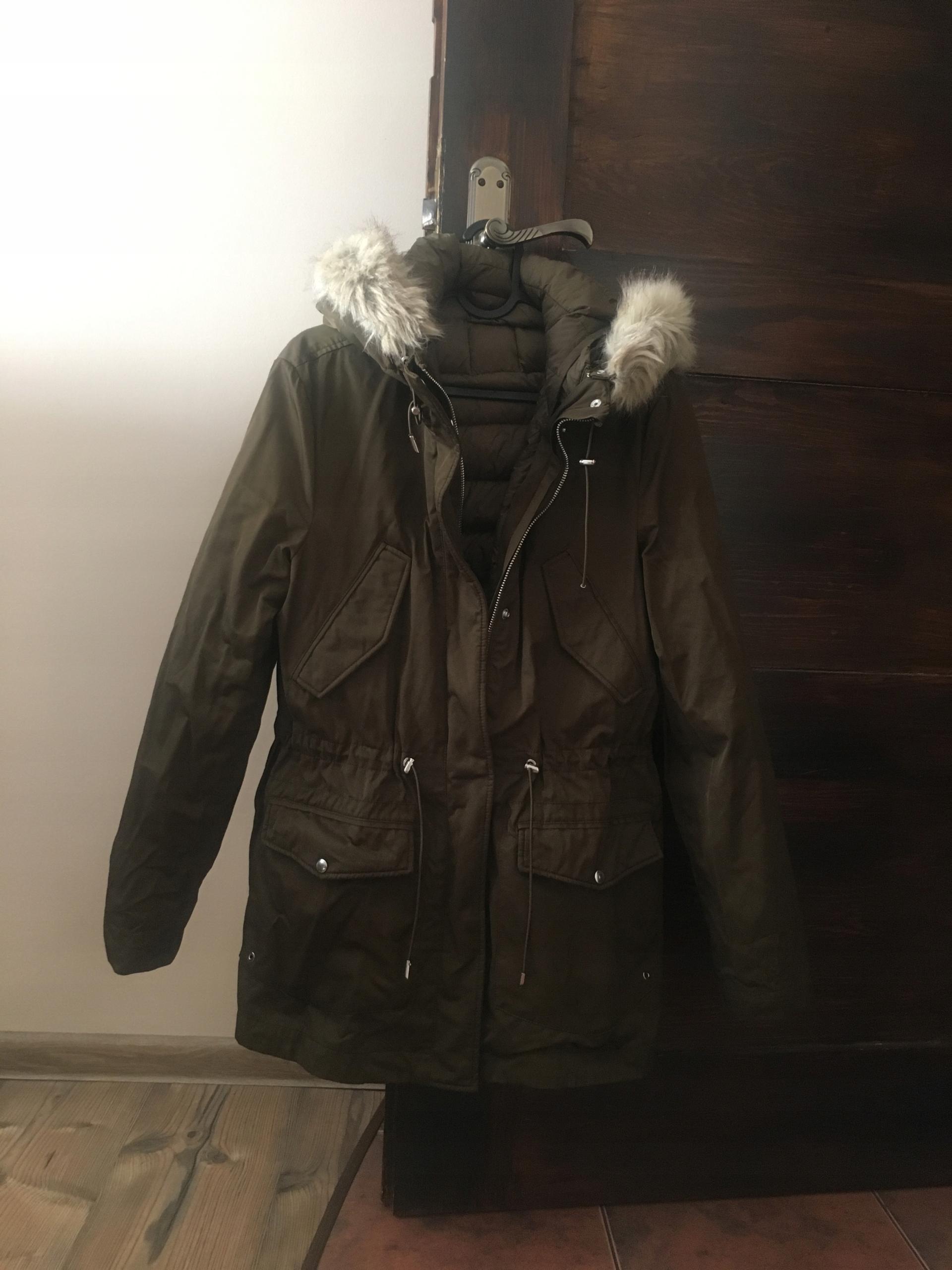 6817ac313571 ZARA kurtka zimowo jesienna kolor kaki - 7458938513 - oficjalne ...