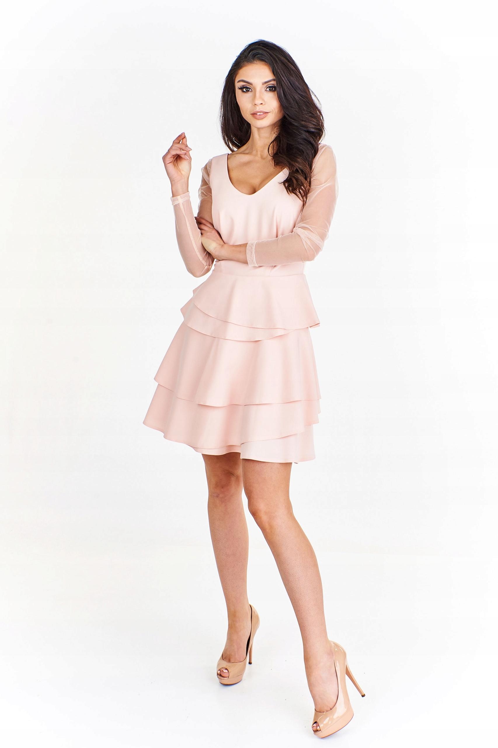 22f2d23677 Sukienka koktajlowa z falbankami 42 Pomarańczowy - 7440009336 ...